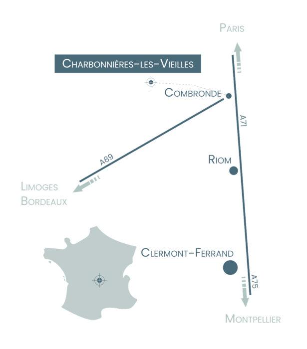 Plan accès Charbonnières-les-Vieilles   A l'Aube des Volcans